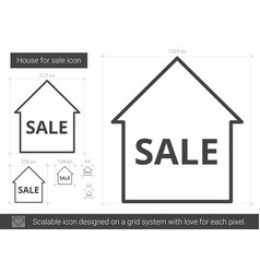 House for sale line icon vector