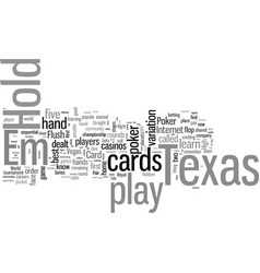 how to play texas holdem poker vector image