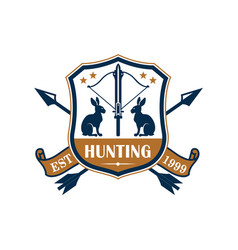 Hunting sport club heraldic badge design vector