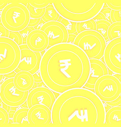 Indian rupee gold coins seamless pattern energeti vector