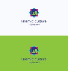Islamic culture star overprint logo vector image