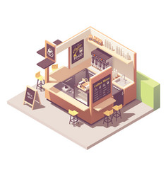 isometric coffee kiosk vector image
