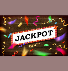 jackpot banner on a wooden background vector image