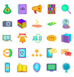 large storage icons set cartoon style vector image