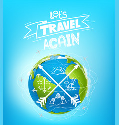 Lets travel again travel banner concept vector