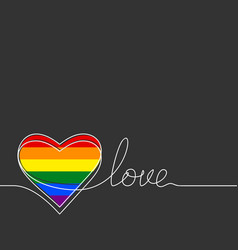 Lgbt gay pride flag color heart in continuous vector