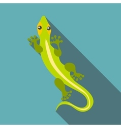 Little clever lizard icon flat style vector