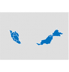 malaysia map - high detailed blue map with vector image