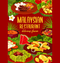 Malaysian cuisine restaurant dishes menu vector