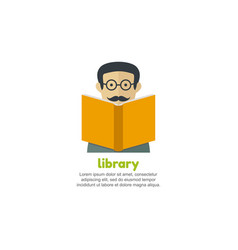 Man reading a book library logo vector