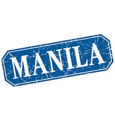 Manila blue square grunge retro style sign vector