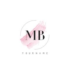 Mb m b watercolor letter logo design vector