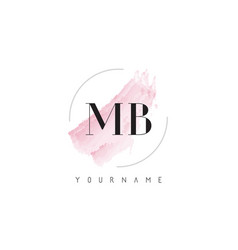Mb m b watercolor letter logo design with vector
