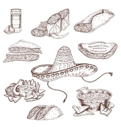 Mexican Food Hand Drawn Set vector image