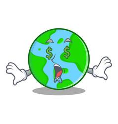 Money eye world globe character cartoon vector