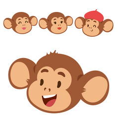 monkeys rare animal cartoon macaque head vector image