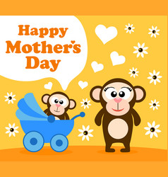 Mothers day background card with monkey vector