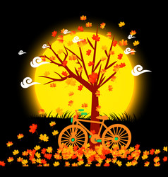 Natural background with leaves and bicycle under vector