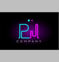 Neon lights alphabet pj p j letter logo icon vector