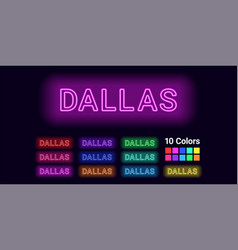Neon name of dallas city vector