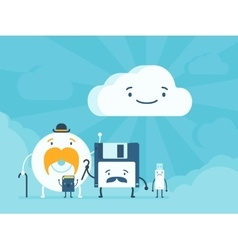 Old memory storages and cloud data service vector image