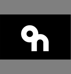 on o n black white bold joint letter logo vector image