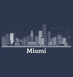outline miami florida city skyline with white vector image