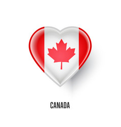 patriotic heart symbol with canada flag vector image