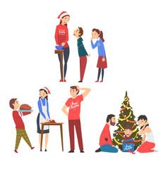 people preparing for winter holidays men women vector image