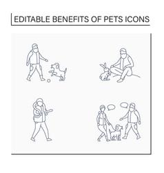 Pets benefits line icons set vector