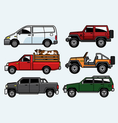 pick up truck and suv car set vector image