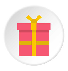 Pink gift box with a yellow ribbon icon circle vector