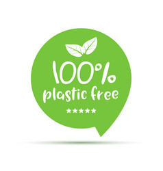 plastic free green icon badge bpa plastic free vector image
