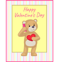 Plush bear toy speaking on telephone with heart vector