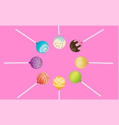 pop cake on pink background vector image