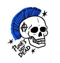 Punk rock music punks not dead words and mohawk vector