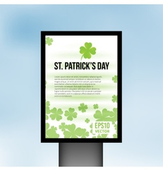 Saint Patrick Day light board background vector image