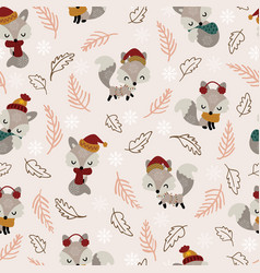 seamless pattern cute little foxes with dry twigs vector image