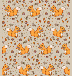 Seamless pattern with a squirrels vector