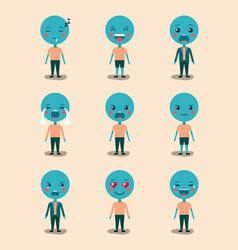 set blue emoticons kawaii characters vector image