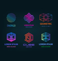 set linear abstract geometric logos vector image