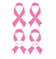 Set of flat pink ribbons vector