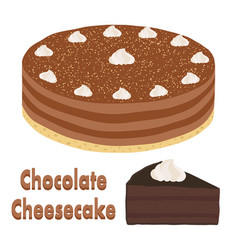 Set of whole chocolate pie and slice of cheesecake vector