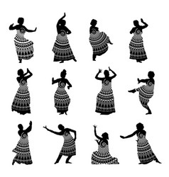 silhouettes indian dancers in mehndi style vector image