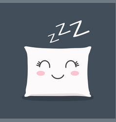 sleeping pillow with closed lashes sleeping zzz vector image