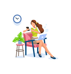 Smart girl working at home vector