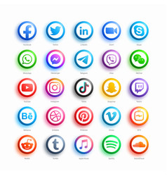 Social media network 3d round web icons set vector