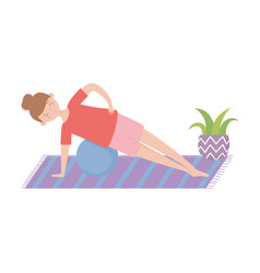 Stay at home young woman training with fitness vector