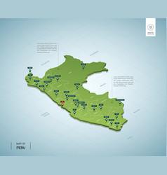 Stylized map peru isometric 3d green map vector