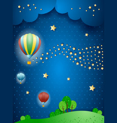 Surreal landscape by night with balloons and wave vector